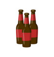 three bottles of beer cartoon vector image