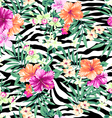 tropical flowers on zebra background vector image vector image