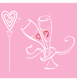 Two braided glass and flower heart vector image vector image