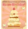 Vintage birthday card with big berry cake vector image vector image