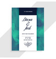 wedding invitation card template with watercolor vector image vector image