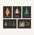 winter holidays greeting card templates set vector image