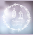 wreath of bokeh lights decorated by moon stars vector image