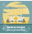 Nation of Brunei landmarks Retro styled image vector image