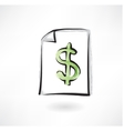 dollar sign grunge icon vector image