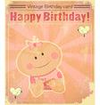 Retro Baby Girl Birthday Card vector image
