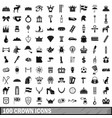 100 crown icons set simple style vector image vector image