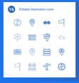 16 destination icons vector image vector image