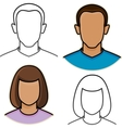 abstract male and female avatar icons vector image vector image