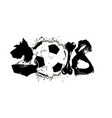 abstract number 2018 dog and soccer ball vector image