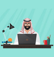 arab muslim businessman or programmer sitting at vector image vector image