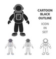 astronaut icon in cartoon style isolated on white vector image vector image