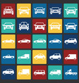 Automobile icons set on color squares background