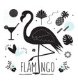 black silhouette flamingo and summer icons set vector image