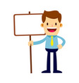 businessman holding a blank sign board vector image