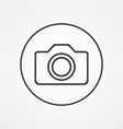 camera outline symbol dark on white background vector image vector image