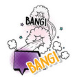 chat bubble with stars and bang patch message vector image vector image