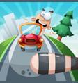 crazy man in car funny vector image