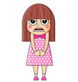 cute cartoon girl with angry emotions vector image