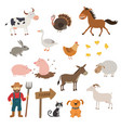 cute farm animals set in flat style isolated on vector image vector image