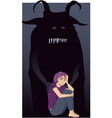 Depressed teenage girl and a monster vector image vector image