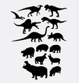 dinosaur and hippopotamus animal silhouettes vector image