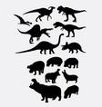 dinosaur and hippopotamus animal silhouettes vector image vector image