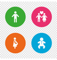 family lifetime icons couple love and pregnancy vector image