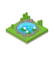 Flat 3d isometric pond outdoor vacation web vector image