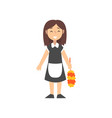 girl maid character in uniform with black dress vector image vector image