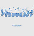 greece garland flag with confetti vector image vector image