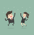 happy businesspeople jumping vector image