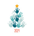 happy new 2019 year handprint christmas tree with vector image vector image
