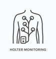 holter monitor flat line icon outline vector image
