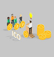 ico concept isometric vector image vector image