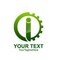 initial letter i logo template colored green gear vector image vector image