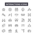 interactions line icons for web and mobile design vector image vector image