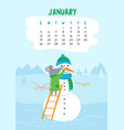 january calendar page with cute rat make snowman vector image