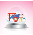 japan snow globe vector image vector image