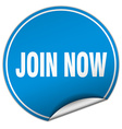 join now round blue sticker isolated on white vector image vector image