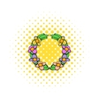 Memorial wreath of flowers icon comics style vector image vector image