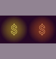 neon icon of yellow and orange dollar vector image vector image
