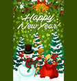 new year holiday card with snowman and xmas gift vector image vector image