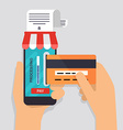 Online and mobile payments concept Human hand vector image