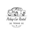 pickup car rental logotype vector image vector image