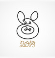 pig head drawn one single continuous unexpanded vector image vector image