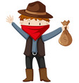 Robber with money bag vector image