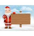 Santa Claus holding wooden sign