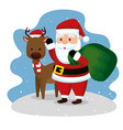 santa claus with bag and deer weraring hat vector image vector image