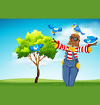 scarecrow with blue birds scene vector image